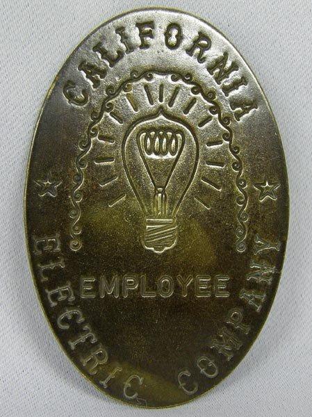 Brass California Electric Company Employee Pin