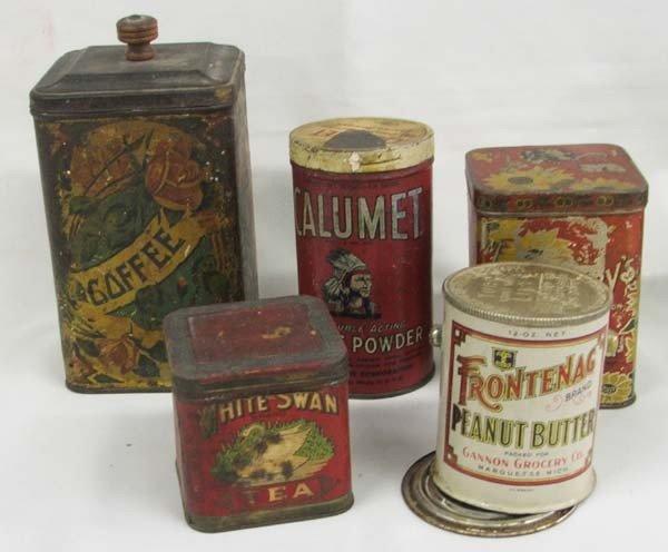 5 Antique Storage Tins