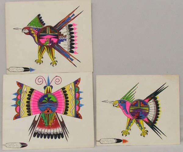 3 Native American Tesuque Paintings By Coriz