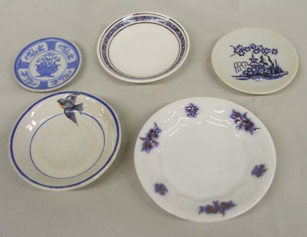 5 Antique Fine Porcelain Butter Pat Plates