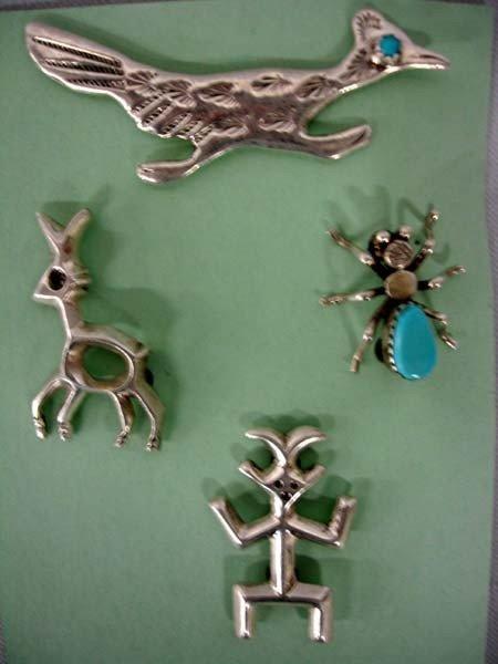 4 Native American Navajo Silver Pins by F. Johnson