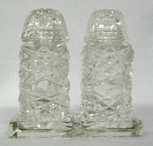 Vintage Cut Glass Salt and Pepper Set