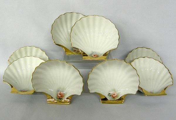 8 Porcelain Handpainted Gilded Nut Cups