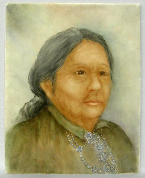 Navajo Woman Handpainted Tile Signed Mary VK