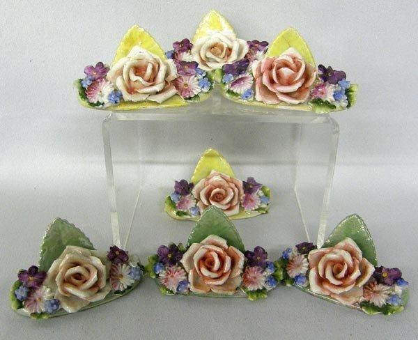 7 German Handpainted Porcelain Rose Card Holders