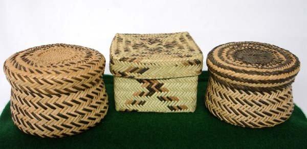 3 Tarahumara Woven Pine Needle Lidded Baskets