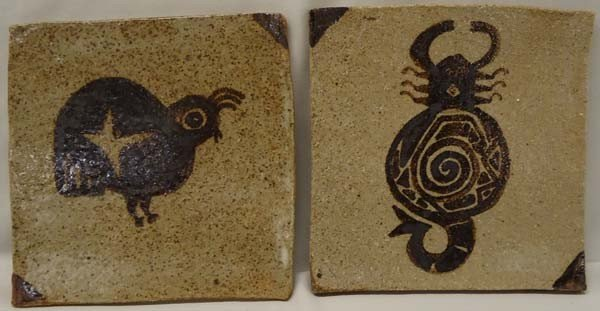 2 Southwest Style Stoneware Tiles