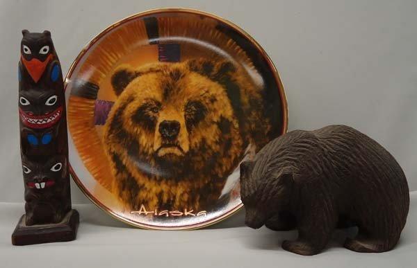 3 Pieces, Alaskan Trivia Plate, Totem & Bear