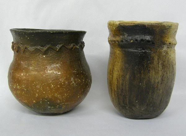 2 Native American Navajo Ceremonial Drum Jars