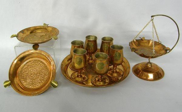 Copper Liquor Set with Tray and 3 Copper Ashtrays