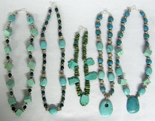 Five Turquoise necklaces