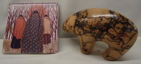 Native American Ceramic Horse Hair Bear & Trivet