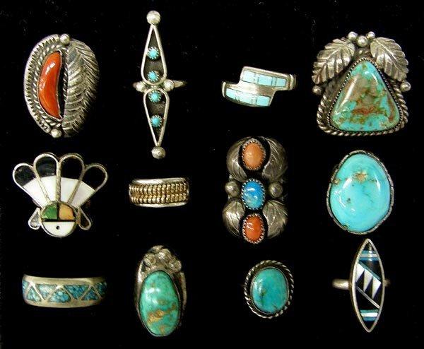 12 Native American Navajo & Zuni Rings
