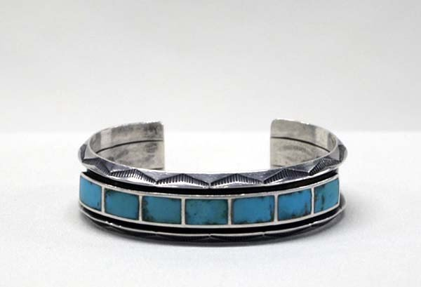 Vintage Zuni Silver Turquoise Inlay Bracelet