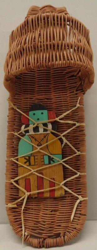 1990's Native American Hopi Toy Cradleboard & Doll