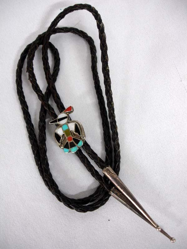 Native American Zuni Silver Inlay Thunderbird Bolo