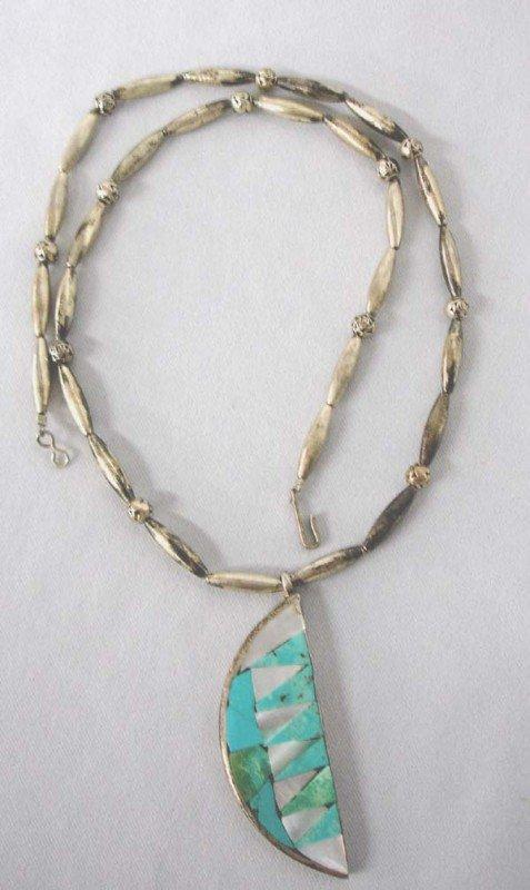 Native American Navajo Silver Necklace by E George