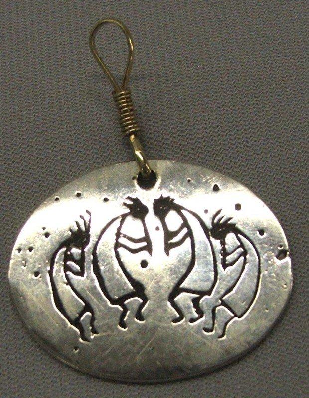 Native American Navajo Silver Kokopelli Pendant
