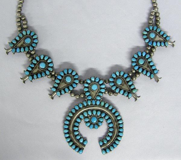 Native American Zuni Squash Blossom Necklace