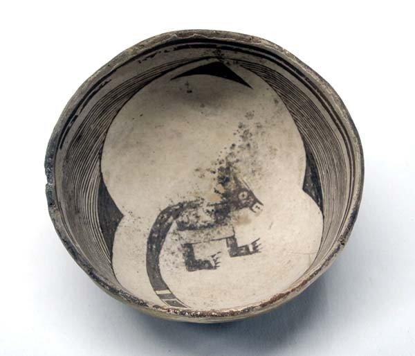 Prehistoric Rare Classic Mimbres Coatimundi Bowl