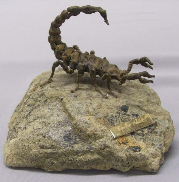 Charles Pratt  Metal Art Scorpion Sculpture on Rock - 2