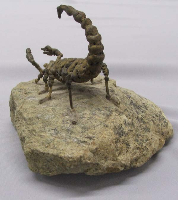 Charles Pratt  Metal Art Scorpion Sculpture on Rock - 4