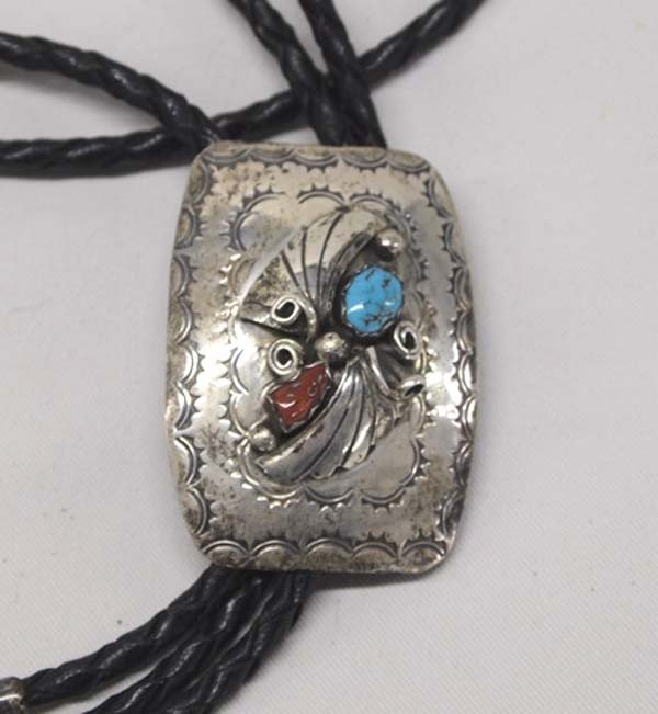Navajo Sterling Silver Turquoise & Coral Bolo Tie