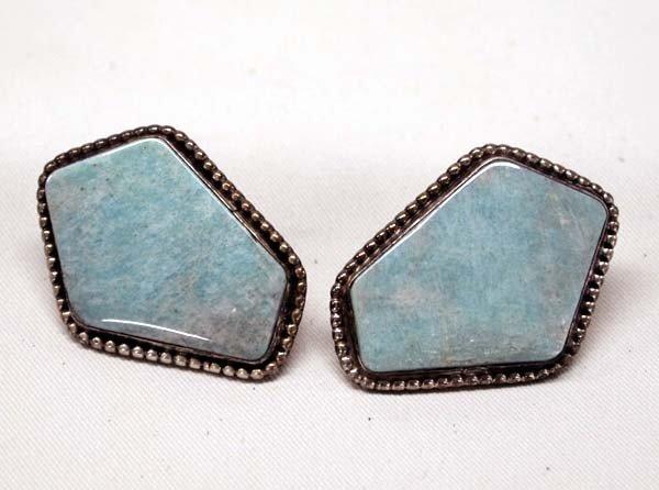 Native American Navajo Silver Pierced Earrings