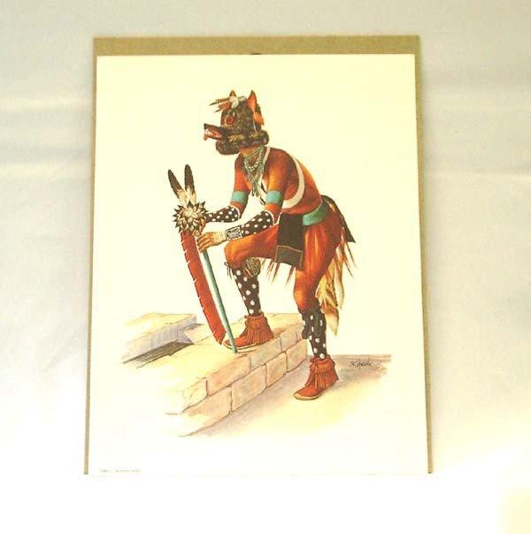Native American Hopi Wolf Kachina ''KWEO'' Print