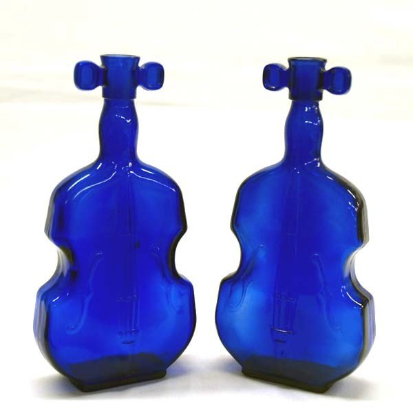 Pr Antique Cobalt Blue Fiddle Vases