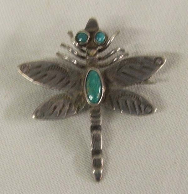 Native American Navajo Silver Dragonfly Pin