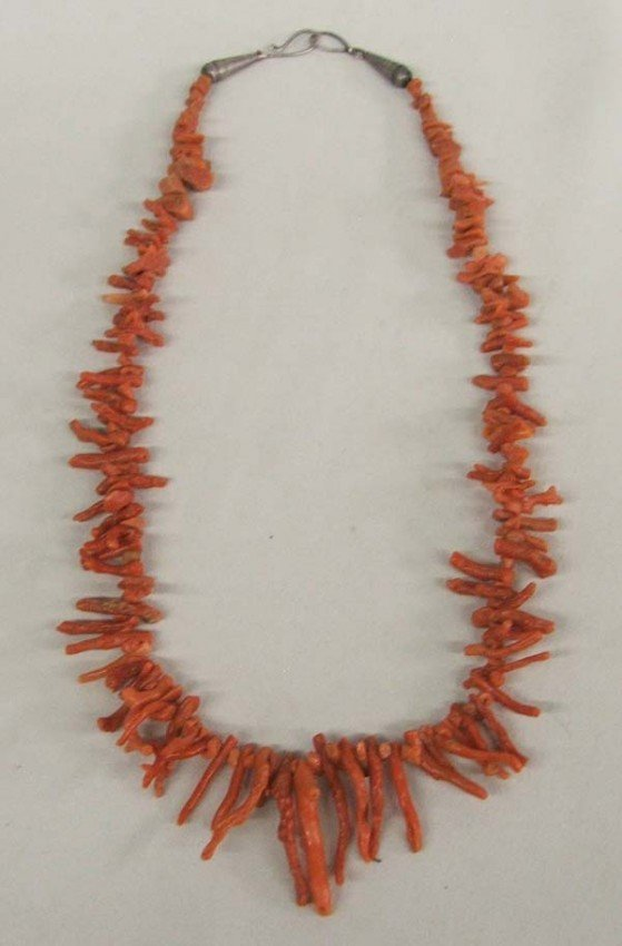 Native American Navajo Angel Coral Branch Necklace