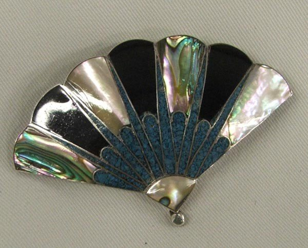 Mexican Sterling Turquoise Fan Pin/Pendant