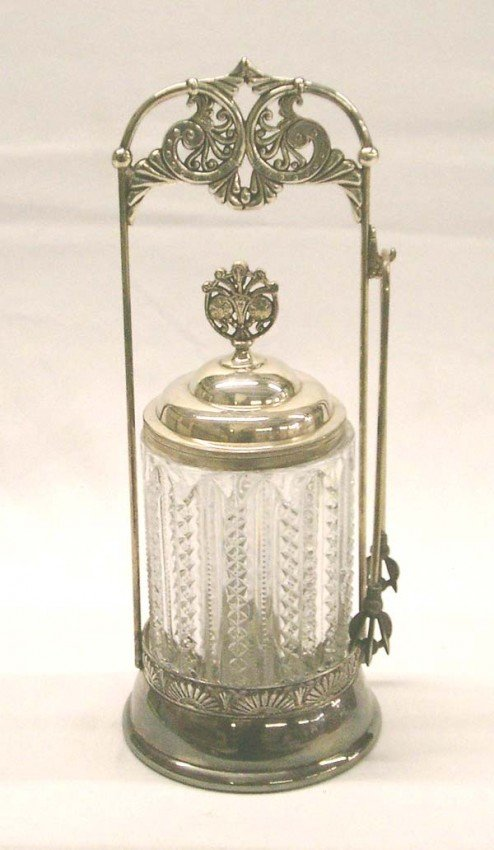 Antique Pressed Glass Silverplate Pickle Castor