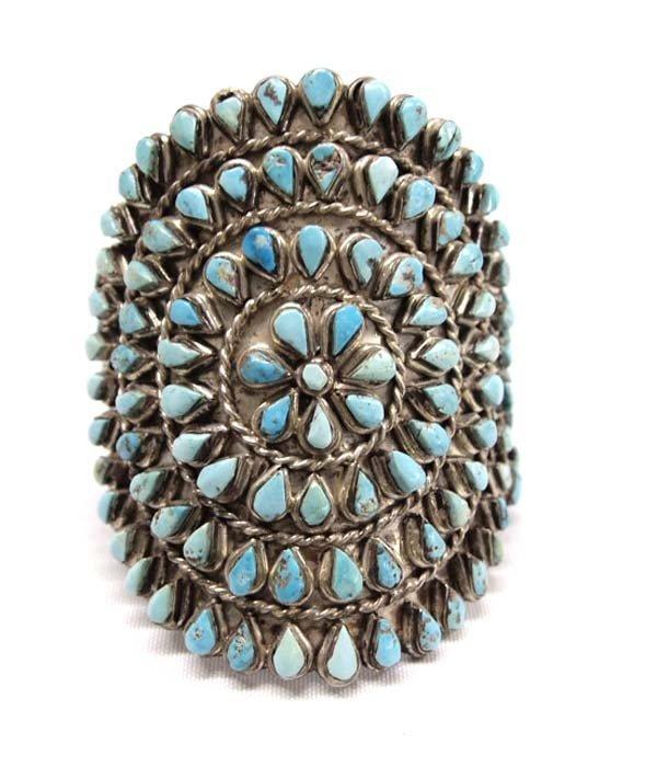 Native American Zuni Silver Cluster Bracelet