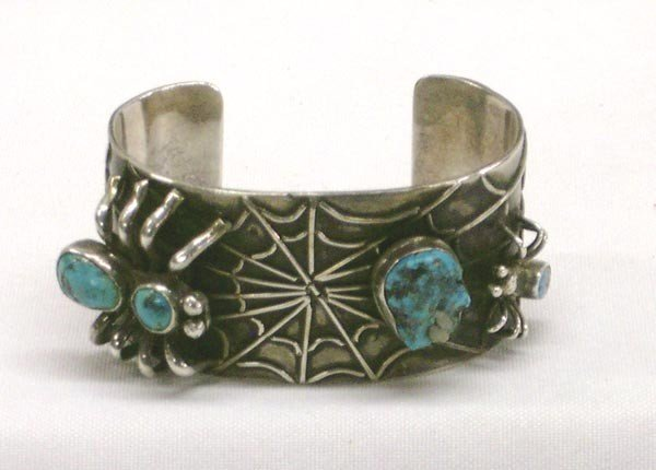 Rare Silver Turquoise Spider Bracelet by Flores