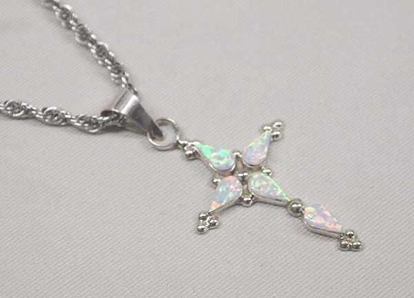 Native American Zuni Silver Opal Cross Necklace