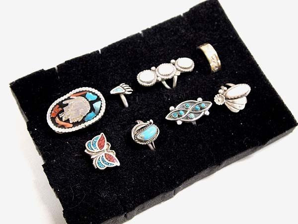 8 Native American Navajo Zuni Rings