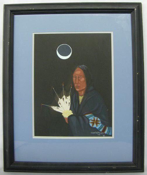 1987 Native American Choctaw Painting By L. Worthington