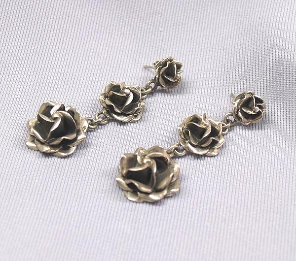 Mexican Silver Rose Earrings