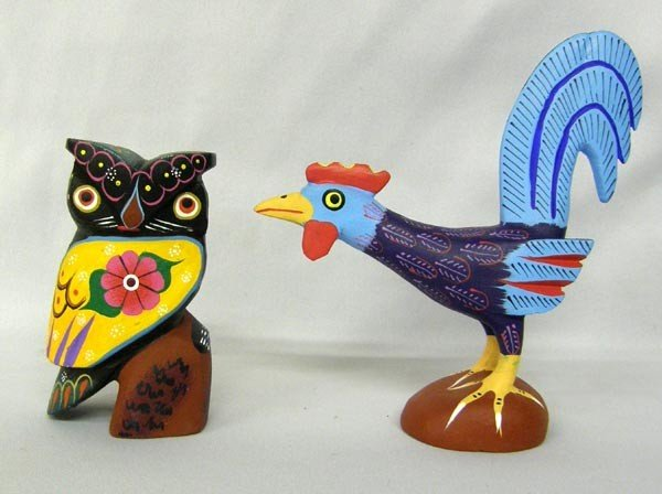 Mexican Oaxacan Alebrije Painted Owl and Rooster