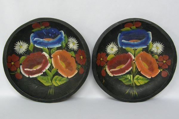 Vintage Mexican  Hand Painted Wooden Plates