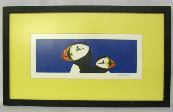 Original Framed Painting of Puffins By Tom Roche