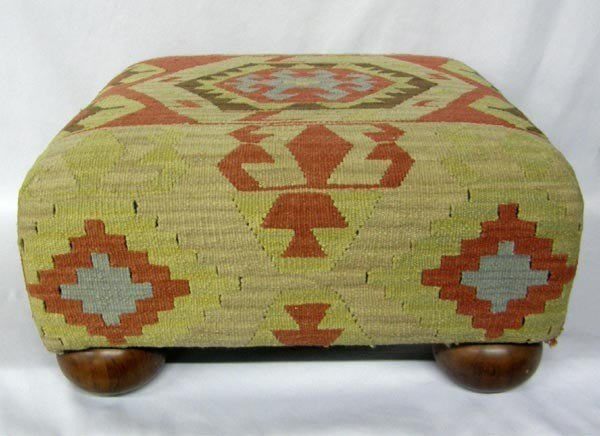 Kilim Rug Covered Ottoman Made By The Bombay Co.