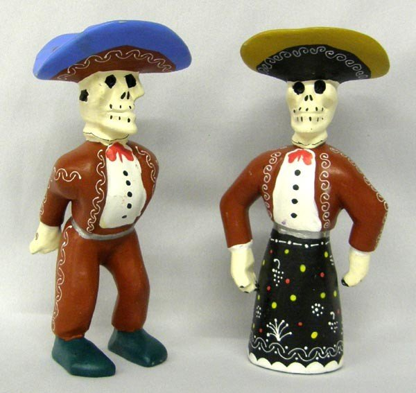 Mexican Wooden Hand Painted Day of the Dead Caballeros