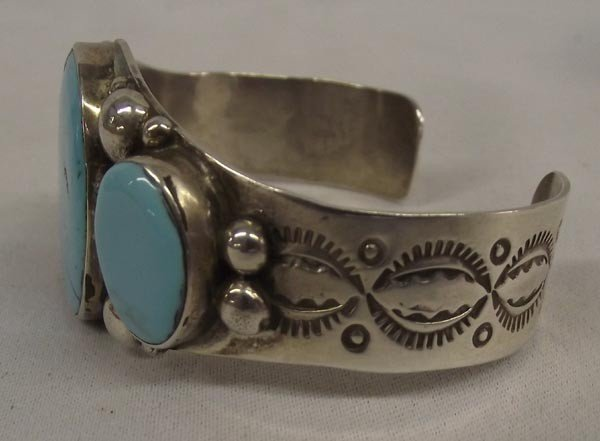 Navajo Silver Turquoise Bracelet by A&J Cleveland