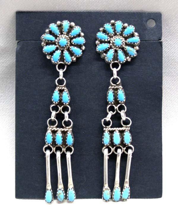 Native American Navajo Silver Turquoise Pierced Ea