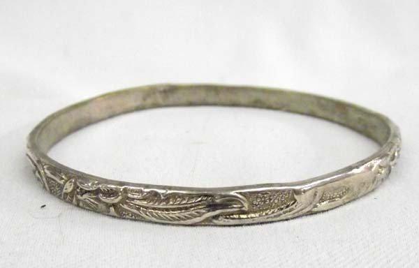 Sterling 925 Floral Design Bangle Bracelet.