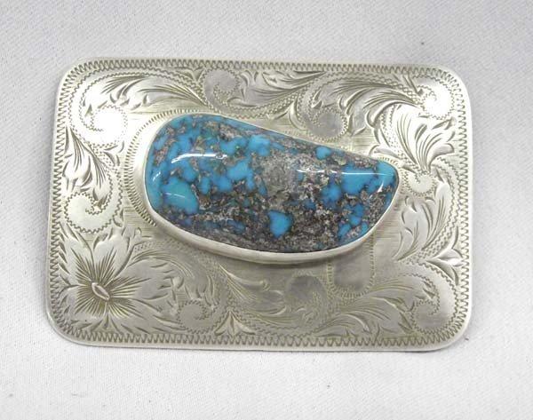 B-K Silversmiths Sterling Turquoise Belt Buckle