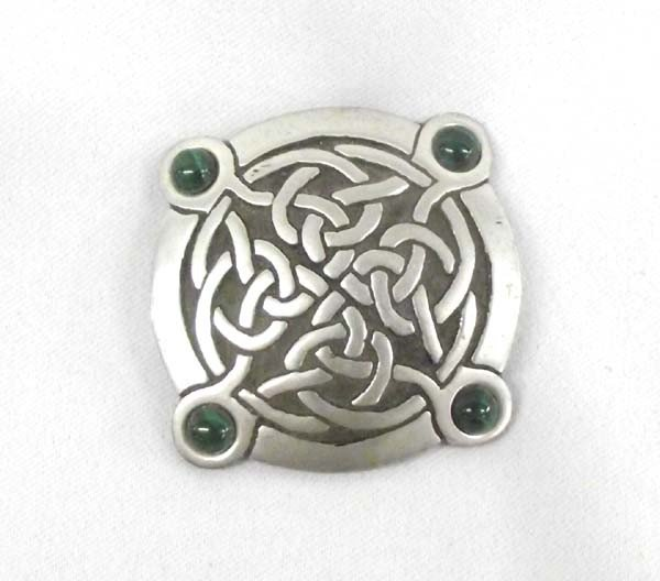 St Justin Celtic Pewter Pin Malachite Beads
